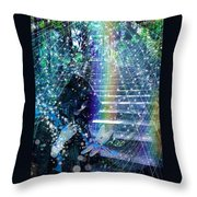 The Kindly Meeting On The Approach Up The Stairway Throw Pillow