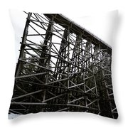 The Kinsol Trestle Panorama View On Snowy Day 1. Throw Pillow