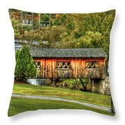 The Kissing Bridge Throw Pillow