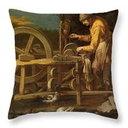The Knife-grinder Throw Pillow