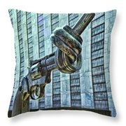 The Knotted Gun Throw Pillow