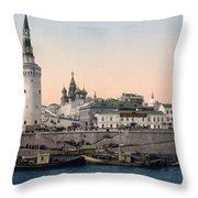 The Kremlin Towards The Place Rouge In Moscow - Russia - Ca 1900 Throw Pillow