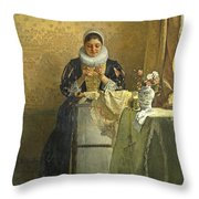 The Lace Maker  Throw Pillow