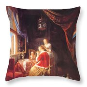 The Lady At Her Dressing Table 1667 Throw Pillow