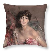 The Lady In Pink Throw Pillow
