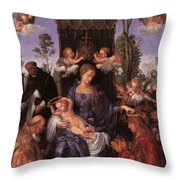 The Lady Of The Festival Du Rosaire Fragment Throw Pillow