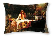 The Lady Of The Shalot Throw Pillow by Pg Reproductions