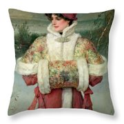 The Lady Of The Snows Throw Pillow