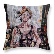 The Lady With The Fan Throw Pillow