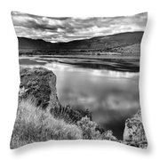 The Lake In Black And White Throw Pillow