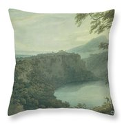 The Lake Of Nemi And The Town Of Genzano Throw Pillow