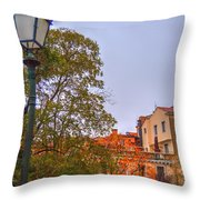 The Lamppost In Oil Throw Pillow
