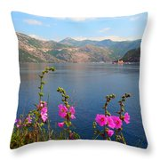 The Landscape Of The Bay Of Kotor In Montenegro. Throw Pillow