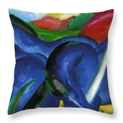 The Large Blue Horses 1911 Throw Pillow