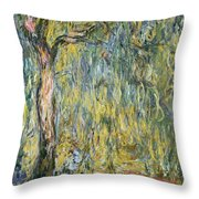 The Large Willow At Giverny Throw Pillow
