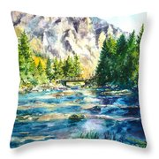 The Last Bridge To Alpine Throw Pillow