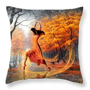 The Last Dance Of Autumn - Fantasy Art  Throw Pillow