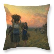 The Last Gleanings Throw Pillow by Jules Breton