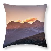 The Last Light Of The Day Over Snowdon. Throw Pillow
