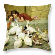 The Last Spoonful Throw Pillow by Briton Riviere