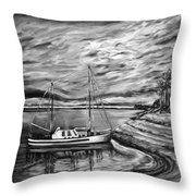The Last Sunset Before Sailing Black And White Throw Pillow