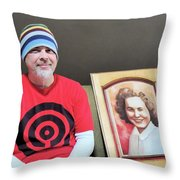 The Artist And His Latest Painting Throw Pillow