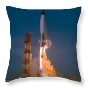 The Launch Of The Mercury Atlas Throw Pillow