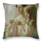 The Lesson Throw Pillow by William Kay Blacklock