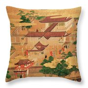The Life And Pastimes Of The Japanese Court - Tosa School - Edo Period Throw Pillow