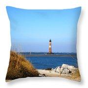 The Lighhouse At Morris Island Charleston Throw Pillow