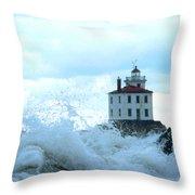 The Light At Fairport Harbor Throw Pillow