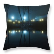 The Light From The Shore Lights Reflected In The Water 3 Throw Pillow