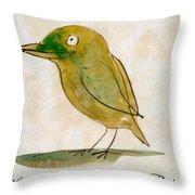 The Light Green Bird Throw Pillow