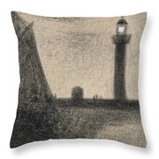 The Lighthouse At Honfleur Throw Pillow