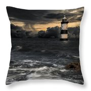 The Lighthouse Storm Throw Pillow