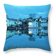 The Lights Come On In Mylor Bridge Throw Pillow