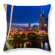 The Lights Of Music City Throw Pillow