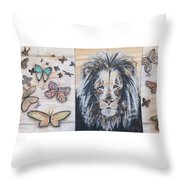 The Lion And The Butterflies Throw Pillow