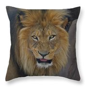 The Lion Dry Brushed Throw Pillow