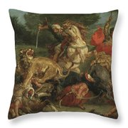 The Lion Hunt Throw Pillow