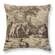 The Lion Seeks Advice Throw Pillow