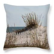 The Little Dune And The White Picket Fence Throw Pillow