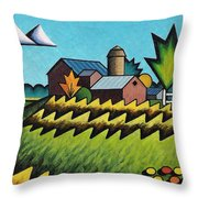 The Little Farm On The Grassy Hill Throw Pillow