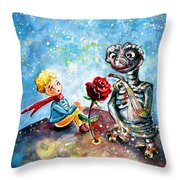 The Little Prince And E.t. Throw Pillow