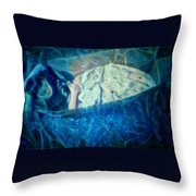 The Little Prince Floating In Box On A Sea Of Dreams With Chaotic Swirls And Waves Of Thought Hope Love And Freedom Portrait Of A Boy Sleeping In A Cardboard Box On An Ocean Of Inspiration Throw Pillow
