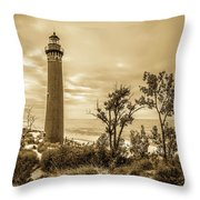The Little Sable Lighthouse Throw Pillow