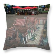 The Little Street By Vermeer In 3d Throw Pillow