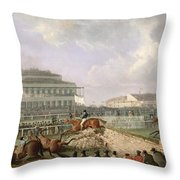 The Liverpool And National Steeplechase At Aintree Throw Pillow
