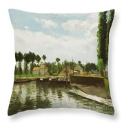 The Lock At Pontoise Throw Pillow