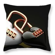 The Lock Code Puzzle Heart. Throw Pillow